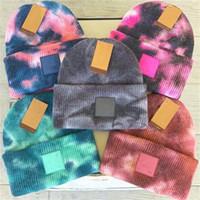 Wholesale crochet watermelon resale online - Color Tie Dye Beanies Winter Hats Knitting Fashion Crochet Hats Warm Skull Caps with Label Ski Beanie Woolen Ear Muff Headwear F101603