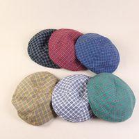 Wholesale black caps news for sale - Group buy News Summer Women Plaid Blank Berets Hat Casual Vintage Ivy Cap