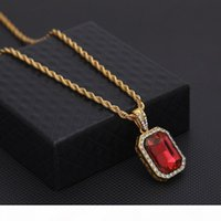 Wholesale mens ruby necklace resale online - K Mens Mini Ruby Pendant Necklace Gold Cuban Link Chain Fashion Hip Hop Necklaces Jewelry For Men