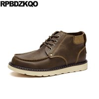 Wholesale comfort work shoes resale online - 11 Designer High Top Waterproof Winter Comfort Men Shoes Casual Leather Italy Large Size Walking Lace Up Brown Work Brush