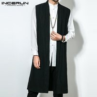 sleeveless trench 2021 - 5XL Mens Long Trench Sleeveless Front Open Casual Solid Loose Retro Chinese Cotton Linen Vintage 2020 Autumn Male Jackets Coats1