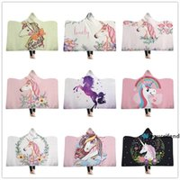 Wholesale snuggle blanket for sale - Group buy cartoon Blankets for kids Sherpa Fleece Throw Blankets with Hood Pink Unicorn inches Snuggle wrap Blanket