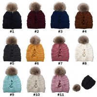 Wholesale Removable Pom Pom Beanies Cross Ponytail Beanies Colors Winter Warm Knitted Wool Hat Women Ski Skull Caps Festive Party Hats CYZ2843