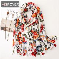 Wholesale flower print scarf viscose for sale - Group buy VISROVER fashion spring summer flower printing viscose scarf with tassel Fashion Wraps Shawls Summer Beach Hijab wholesales