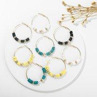Wholesale polymer clay jewelry earrings resale online - Boho Multicolor Polymer Clay Heishi Beads Earing Women Girl Summer Fashion Surfer Hoop Earring Gold Beach Jewelry