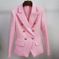 HIGH STREET Classic Designer Blazer Jacket Women's Slim Fitting Metal Lion Buttons Double Breasted Blazer 201110