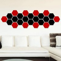 Wholesale decorate mirror for sale - Group buy Hot selling hexagonal mirror environmental protection acrylic wall stickers background wall decorated crystal three dimensional mirror