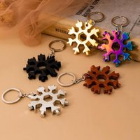 Wholesale wrench bottle openers for sale - Group buy 18 in Snowflake Keyring Wrench Multifunction EDC Tool Portable Stainless Steel Keychain Bottle Openers Screwdriver YYA540