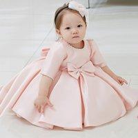 Wholesale Beads Bow Years Birthday Toddler Girl Baptism Dress Christams Costumes Newborn Princess Vestido Kids Gift Christening Dresses