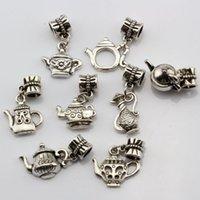 Wholesale teapot charms resale online - Hot Sales Antique Silver Alloy Mixed Teapot Charms Dangle Bead Fit Charm Bracelet Style Diy Jewelry