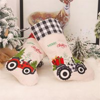 Wholesale car socks for sale - Group buy 2 Styles Red Black Lattice Christmas Stocking Creative Cartoon Car Candy Sock Hanging Christmas Tree Decoration Party Pendant GWF3007