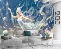 Wholesale angels flying resale online - 3d Bedroom Wallpaper Flying Angel Fairy Beauty Home Decor Living Room Bedroom Wallcovering HD Wallpaper