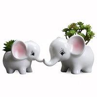 Wholesale flower elephant resale online - Cartoon Elephant Ceramic Flower Pot European Creative Handmade Manual Grouting Meat Pot Modern Home Balcony Desktop EWF2290