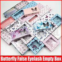 Wholesale boxes fake lashes resale online - Multicolor Butterfly Print Empty Eyelash Packaging Cardboard Paper Case False Eyelashes Package Box Fake Eye Lashes Packaging