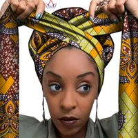 lenços africanos mulheres venda por atacado-African Headwrap In Women's Hair Accessories Scarf Wrapped Head Turban Ladies Hair Accessories Scarf Hat Headwrap Nigeria WYB612 201021