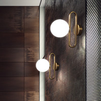 Wholesale bedside lamp design for sale - Group buy 2020 Nordic Glass Ball Bedside Wall Lamp Fashion Retro Brass Molecule Design Kitchen Foyer Study Decorative Led Indoor Lighting