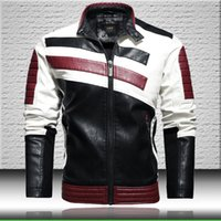 Wholesale long moto jacket for sale - Group buy Striped Biker Leather Jacket Men Fashion Patchwork Moto Jackets Coats Mens Stand Collar Faux Leather Jacket Fashion Style