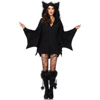 Wholesale batman dress women resale online - Halloween Female Cosplay Vampire Bat Costume Sexy Women Adult Cosplay Black Jumpsuit Connect Wings Batman Dress and Socks Toy