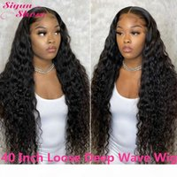Wholesale human hair lace wig 32 inches resale online - 30 Inch Long Loose Deep Wave Lace Front Human Hair Wigs Density Lace Wig Brazilian Curly Human Hair Wigs