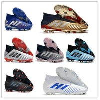 Wholesale shoes size 19 resale online - 2020Predator FG soccer shoes sneakers football cleats high top boots youth kids men women trainers cleat boot sneaker laceless waterproof