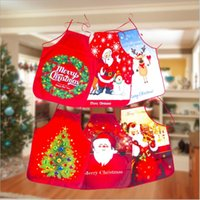 Wholesale santa claus apron for sale - Group buy Christmas Apron Santa Claus Snowman Printing Pinafore Xmas Gifts Cartoon Waist Aprons Merry Christmas Atmosphere Decor GWC3142