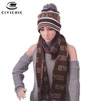 Wholesale green new york hat for sale - Group buy CIVICHIC Unisex Warm Faux Wool Knit Hat Scarf Set Man woman Christmas Gift Cap New York Print Thicken Headwear Neck Shawl SH108
