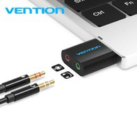 Wholesale ps4 card resale online - Vention USB Sound Card USB Audio Interface External mm Microphone Audio Adapter Sound card for Laptop PS4 Headset