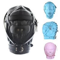 Wholesale slaves hood for sale - Group buy Pu Sex Fetish Hood Bondage Toy Sm Totally Slave Mask With Bdsm Restraints Lock Y18100803 Adult Games New Leather For Couples Enclosed Dskei
