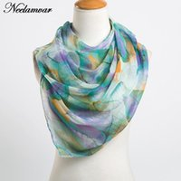 Wholesale winter shawls india for sale - Group buy fashion long georgette scarf women leaves printing silk scarves new Autumn and Winter girls shawl echarpe from india