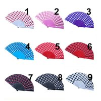 Wholesale supply fan for sale - Group buy Polka Dots Design Plastic Hand Folding Fan for Wedding Gifts Party Favors Fans Supplies FWD2664