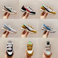 Wholesale gold boy toddler shoes resale online - Kids Daybreak Running Shoes Official White University Red Sneaker White Nylon Boy Girls Toddlers Infants Daybreak Topaz Gold Trainers