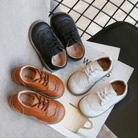 Wholesale crochet flats shoes resale online - High Quality Children Leather Shoes Boys Sneakers Breathable Baby Toddler Shoes Flat Lace Up Leisure Boys Sneaker C12214