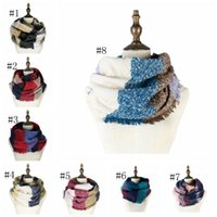 Wholesale party supplies resale online - Plaid Striped Neck Scarf knit RingYarn Head Scarf Circle Loop Scarfs Autumn winter Neck Scarf Women Scarfs Fashion Party Supplies AHA2201
