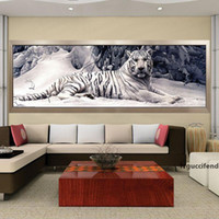 Wholesale paintings white tigers resale online - Diamond Embroidery D Diy Diamond Painting Cross Stitch White Tiger Round Diamond Mosaic Animals Home Paintings hobbies crafts T200111