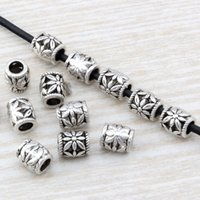 200Pcs Antique Silver Alloy Daisy Barrel Spacer Beads 7x8mm For Jewelry Making Bracelet Necklace DIY Accessories D11
