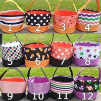 Wholesale spirits gift resale online - Halloween Printing Bucket Gift Wrap Girls Boys Child Candy Collection Bag Handbag Spirit Festival Storage Basket OWE1152