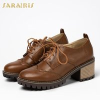shoelaces styles 2021 - Sarairis 2020 Wholesale Large Sizes 43 skidproof Chunky Heels shoelaces vintage british style Brogue pumps Spring Women Shoes1