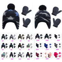 Wholesale gifts for baby boy party resale online - Fashion Star Baby Boys Knit Warm Fleece Pilot Infant Toddler Hat Mitten Set Gloves For Boy Girl Christmas Party Supplies Gift HH9