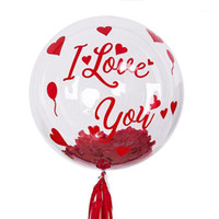 love bubbles 2021 - Red I love you Stickers with 24 inch no Wrinkles Transparent PVC Bubble Balloon Set Wedding Valentine's Day Helium Globos Decor1