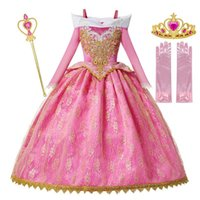 Wholesale MUABABY Girls Deluxe Sleeping Beauty Princess Costume Long Sleeve Pageant Party Gown Children Fancy Dress Up Frocks T