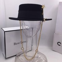 Wholesale wool pin for sale - Group buy Black cap female British wool hat fashion party flat top hat chain strap and pin fedoras for woman for a street style shooting