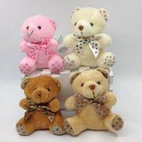 Wholesale mini teddy bear bouquet resale online - 10pcs Sitting cm Plaid Teddy Bear Plush Pendant Soft Toys For Bouquets mini Plaid Bear Toys For Keychain