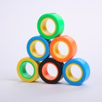 Wholesale magnets block resale online - Magnetic Infinite Cube Decompression Toy Fidget Spinners Magnet Block Ring Finger Hand Table Toy Rotating Finger Gyro Character EWB2315
