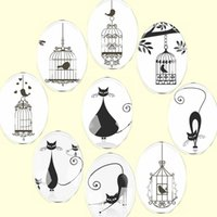 Wholesale bird cage charms resale online - Handmade Glass Mixed Oval Black White Cat Bird Cage Flatback Cameo Cabochon Domed DIY Jewelry Charm Photo Pendant Setting