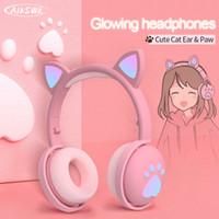 Wholesale kid bass resale online - AIKSWE Bluetooth Headphones glowing cute LED Cat Ear Paw Girls Gift Kids Headset Wireless HIFI Stereo Bass mm Plug With Mic