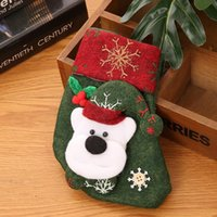 Wholesale bear style bags resale online - Christmas stocking styles Cute Candy Gift bag snowman santa claus deer bear santa sack christmas ornaments pendants EWD2320