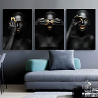 Wholesale african women paintings abstract resale online - Black Gold Nude African Art Woman Nordic Style Painting on Canvas Posters and Prints Scandinavian Wall Picture for Living Room