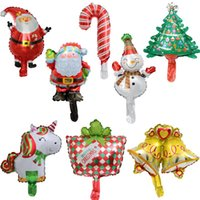 Wholesale mini christmas bells resale online - Mini Christmas Fiol Balloons Unicorn Snowman Santa Bell Tree Cartoon Shape Helium Foil Balloons Window Restaurant Mall BWD2588
