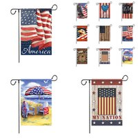 9 Color American Garden Flag Colorful Print Flag Banner Happy American Linen Fabric Garden Flag Garden Decoration 120pcs T1I2519