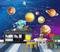 Wholesale cartoon wall painting bedroom resale online - Custom Mural Wallpaper D Cartoon Planet Solar System Photo Wallpaper Kids Room Bedroom Wall Painting Living Room Wall Paper